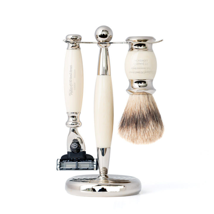 Taylor of Old Bond Street Edwardian Imitation Ivory Mach 3 Shaving Set