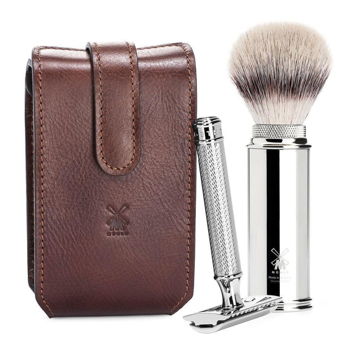MÜHLE Brown Leather Case, Silvertip Fiber Brush & Safety Razor Travel Set