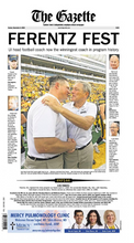 Front page of The Gazette Sunday 9/1/18 Featuring Kirk Ferentz becoming Iowa's winningest coach.