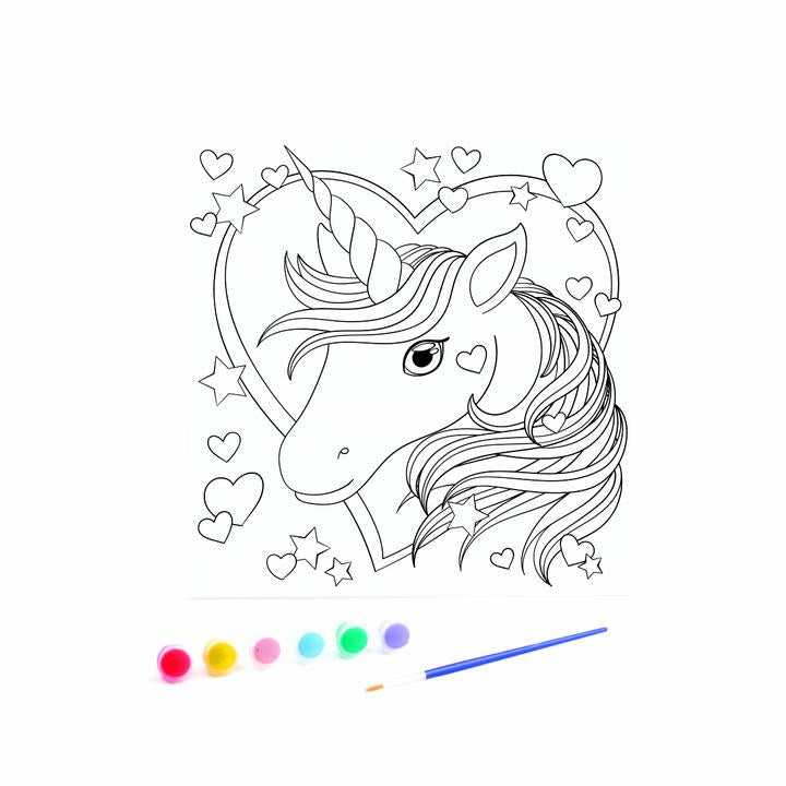 Kids Canvas with Paints - Unicorn Head