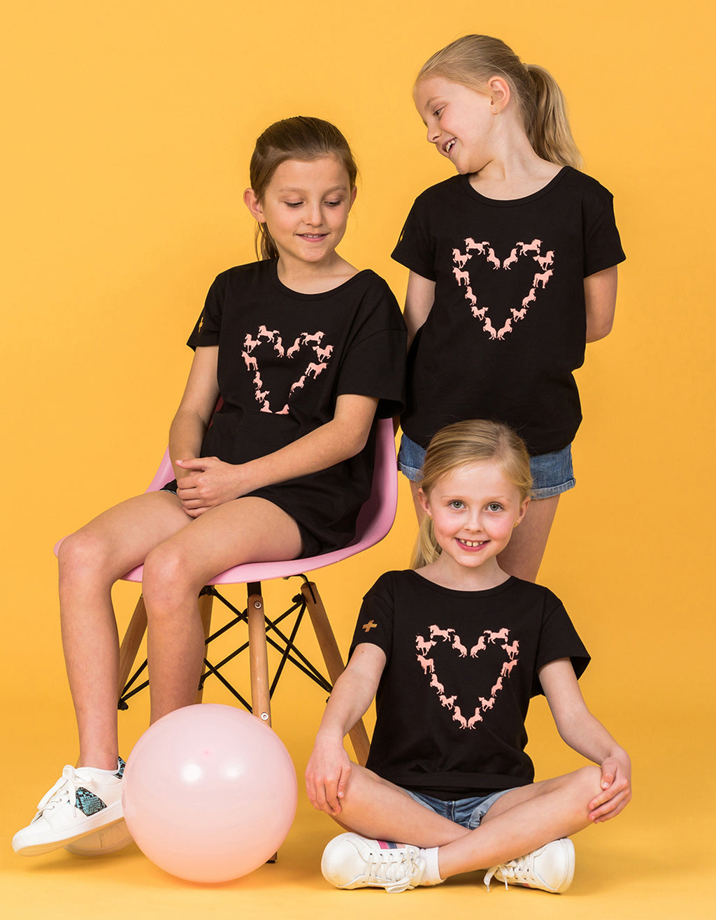 Eden Tee - Black with Pink Unicorns