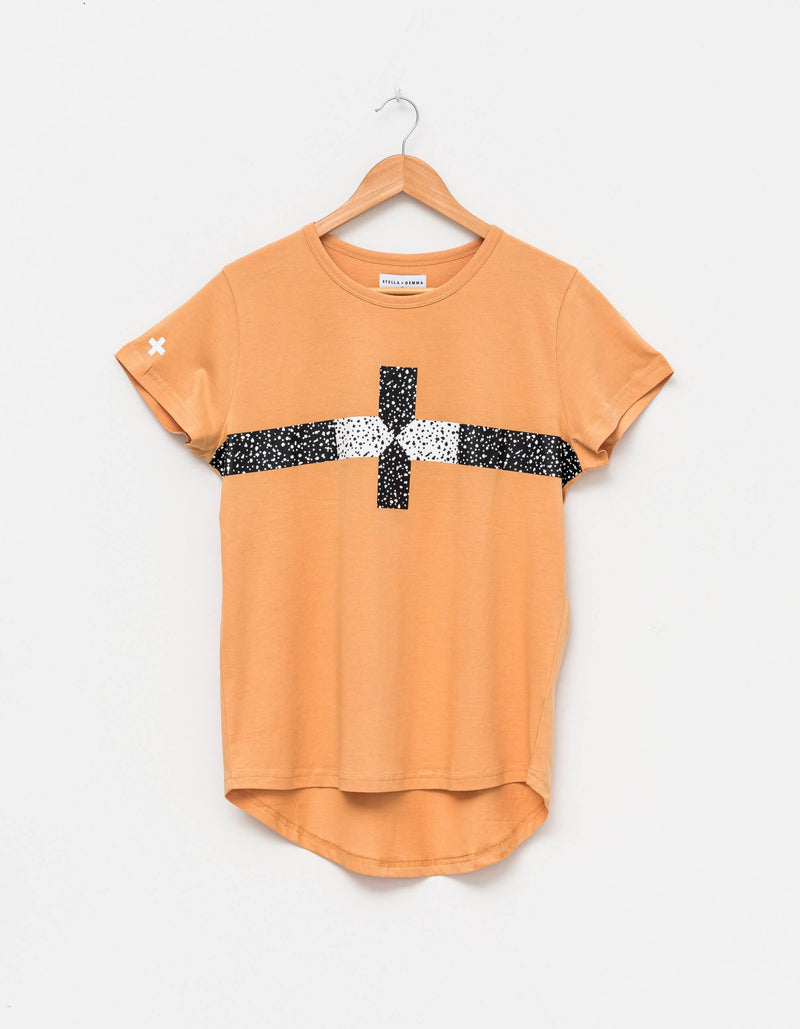 Clay Cheetah Cross Tee