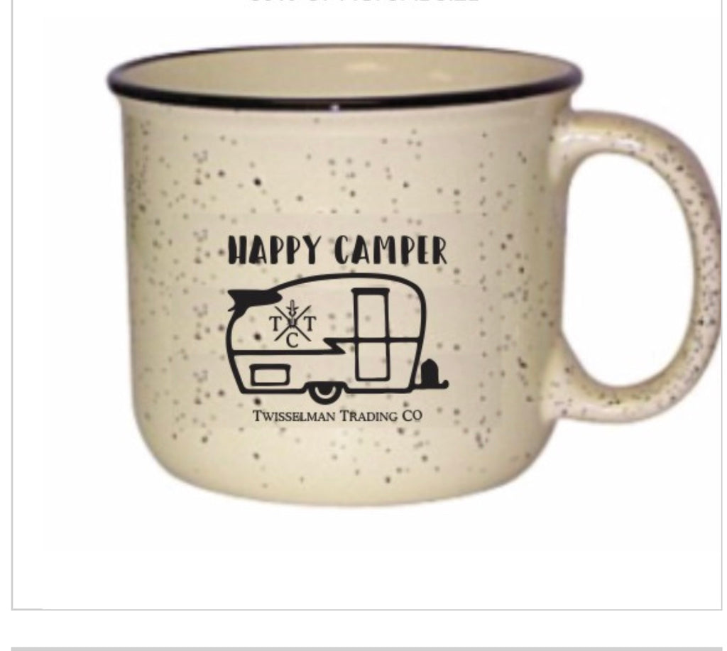 Happy Camper Ceramic Campfire Mug - 15 oz