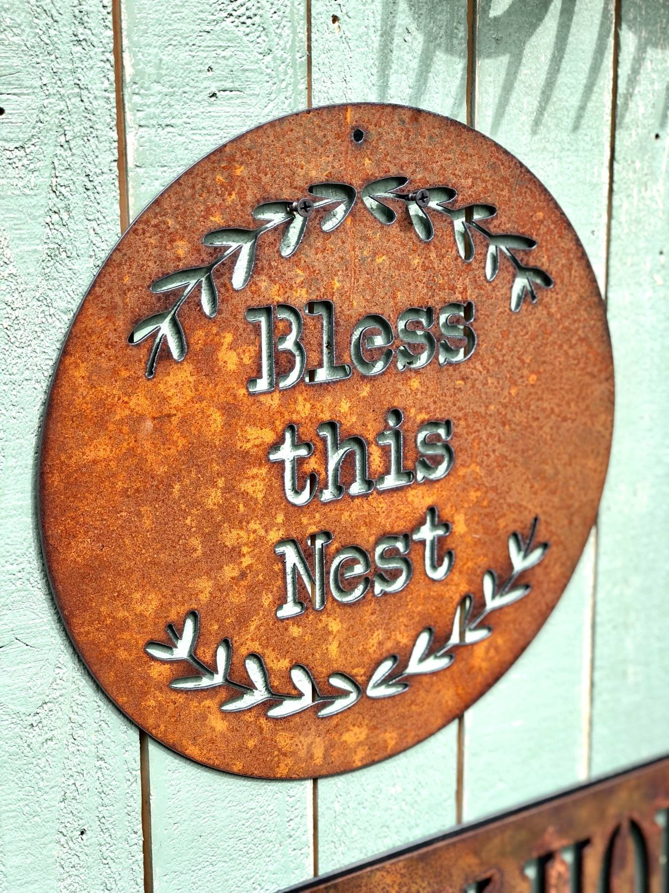 Bless this Nest Metal Sign