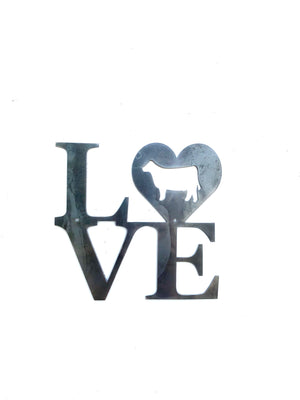 "Stacked ""Love"" Show Animal Metal Sign"