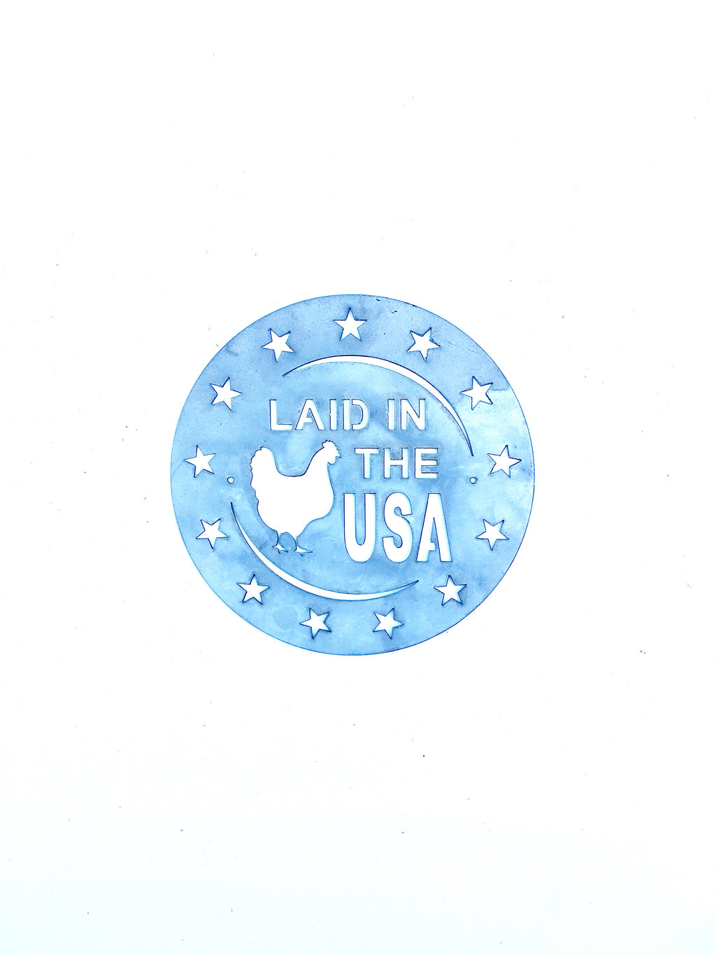 Circle Laid in the USA Metal Sign