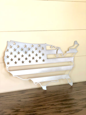 USA Outline Flag Metal Sign