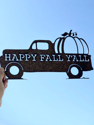 """Happy Fall Ya'll"" Truck Silhouette Metal Sign"