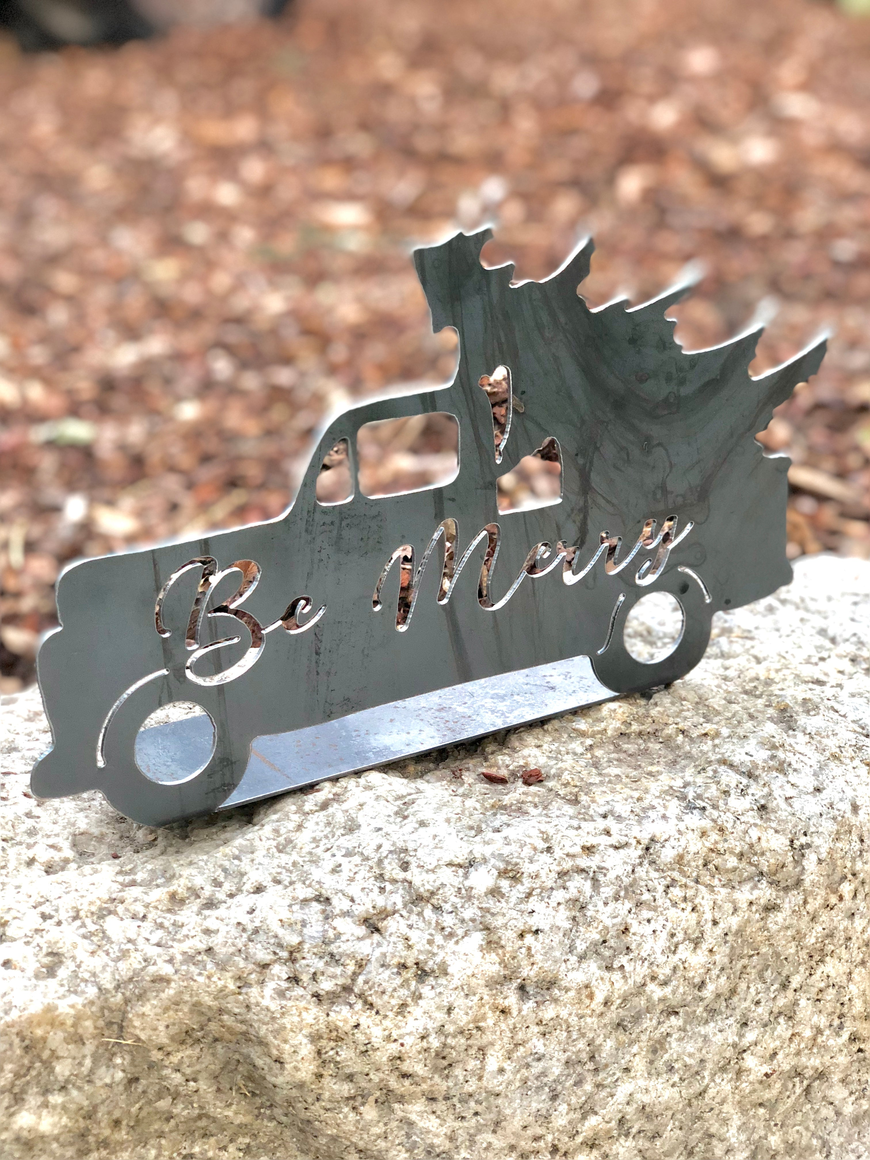 Be merry Truck Silhouette Metal Sign