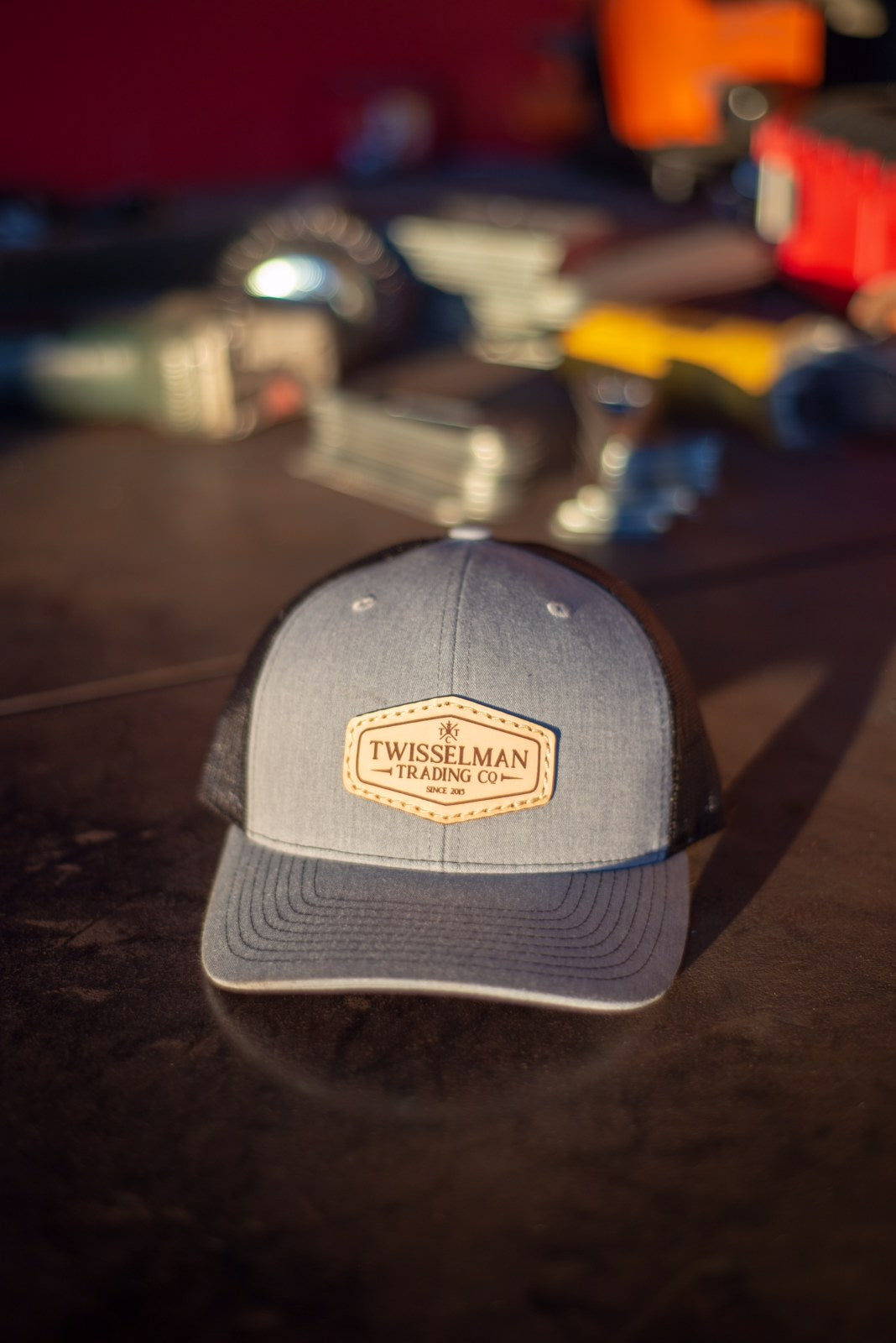TTC - Leather 112 Richardson Trucker Snapback Heather Grey/Black with Leather Patch Logo