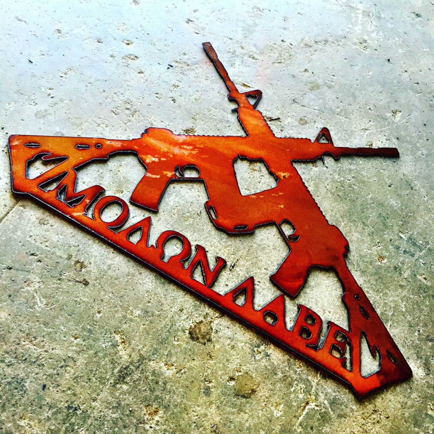 Crossed AR-15s with Molon Labe Metal Signmetal art