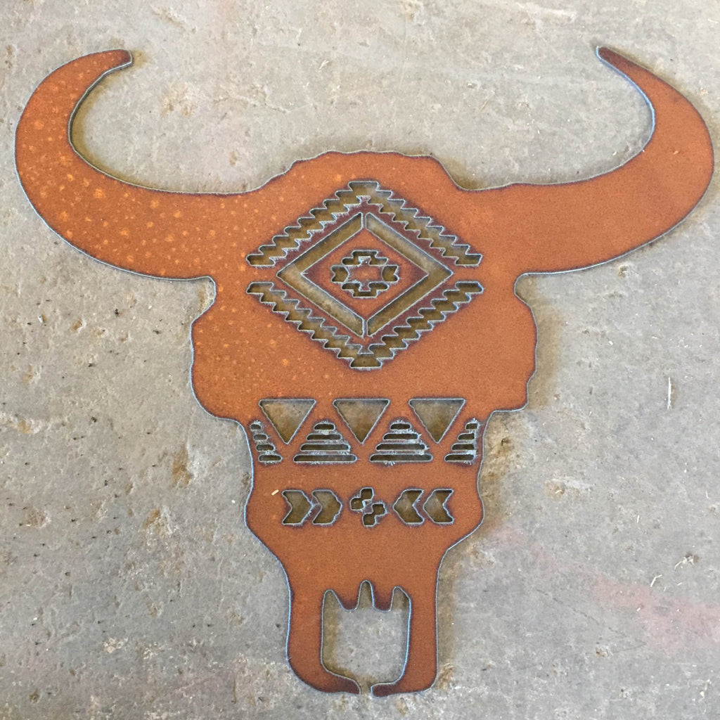 Buffalo Skull metal sign, southwest pattern buffalo, southwest style metal art, southwestern decor, southwestern home decor, skull art