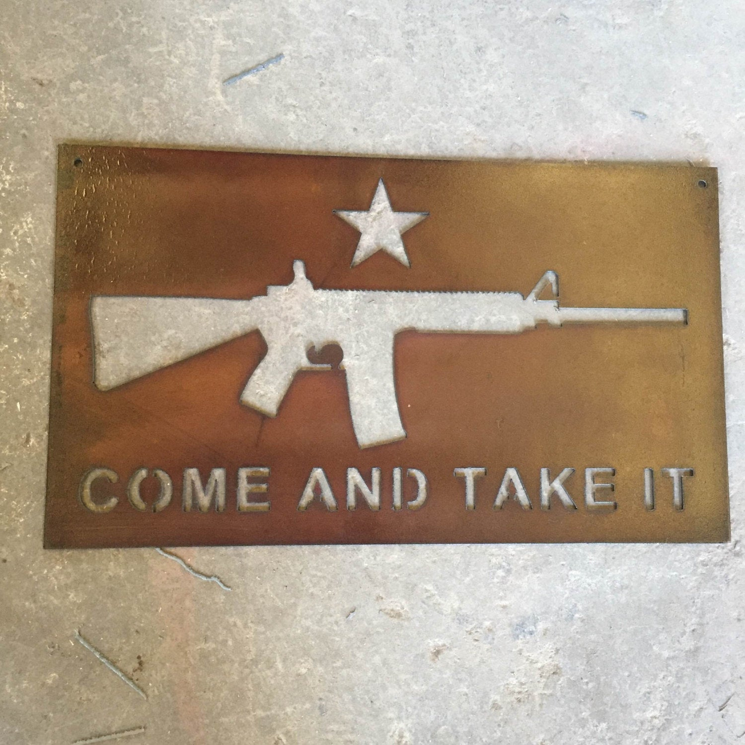 Come and Take It Metal Sign, gun gift, gifts for him, outdoor metal art, man cave, rustic home decor, 2nd amendment, military gifts