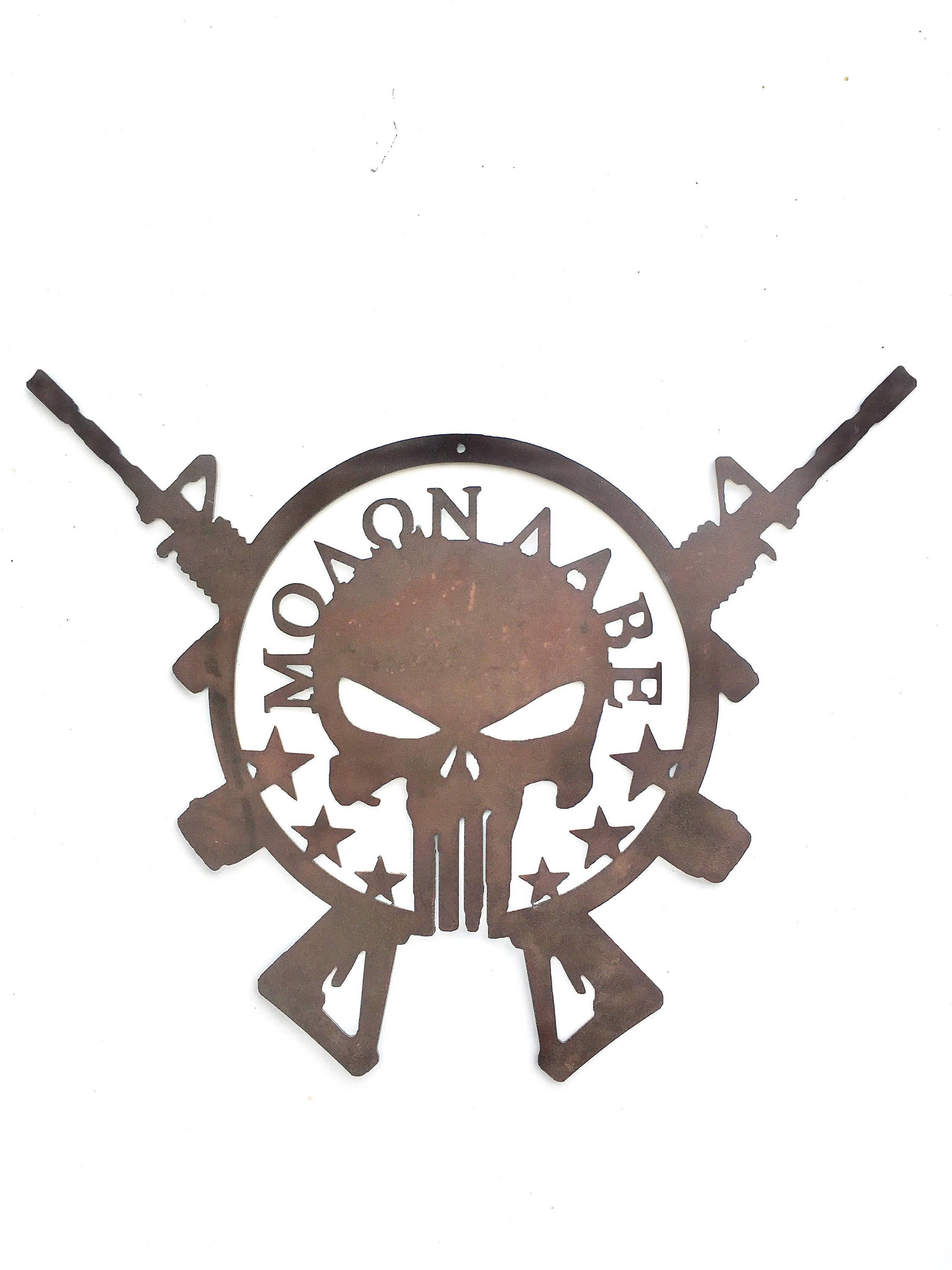 Crossed AR-15s with Molon Labe Punisher Skull Metal Signmetal art