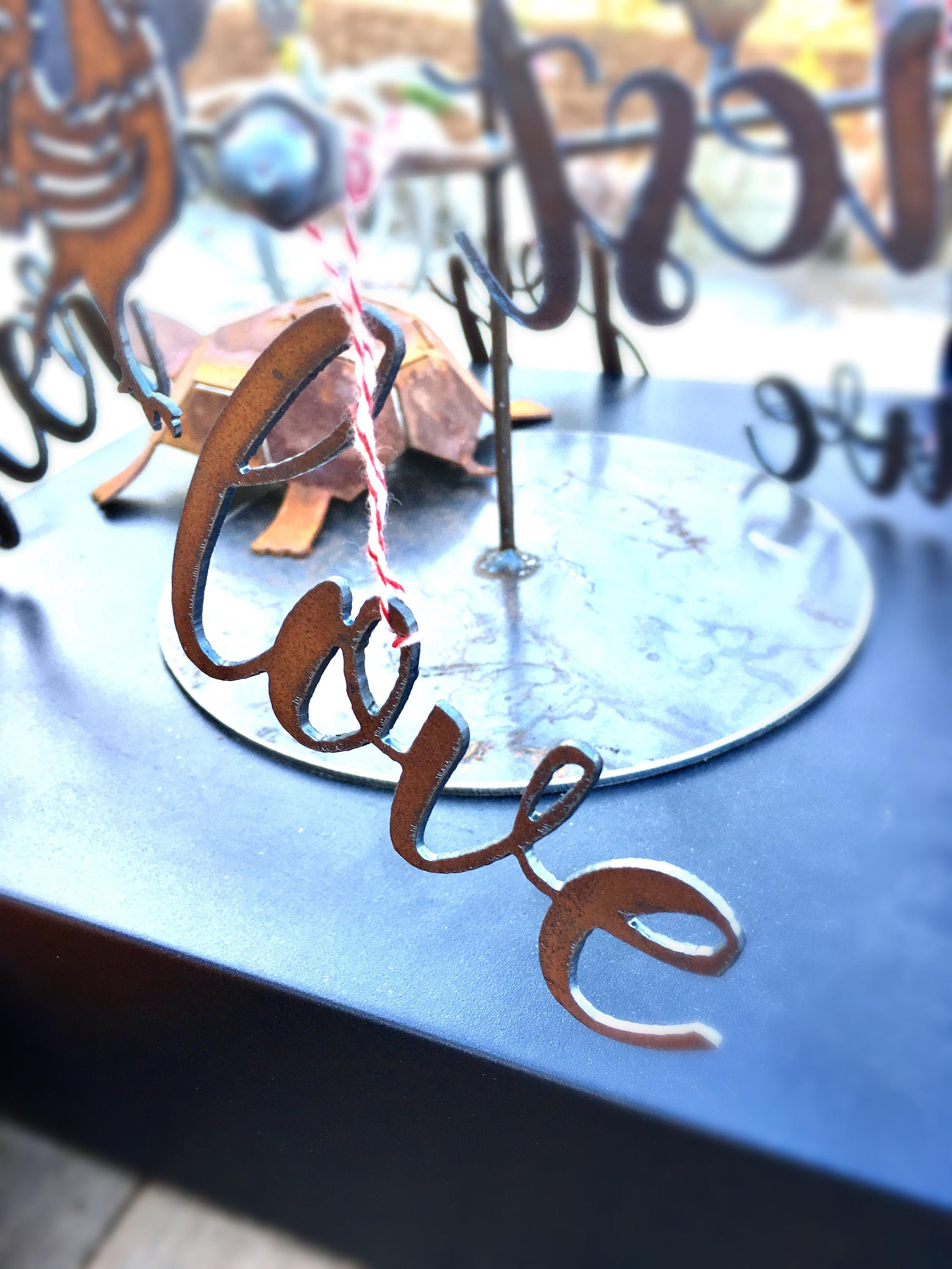 Metal Script Word Ornament