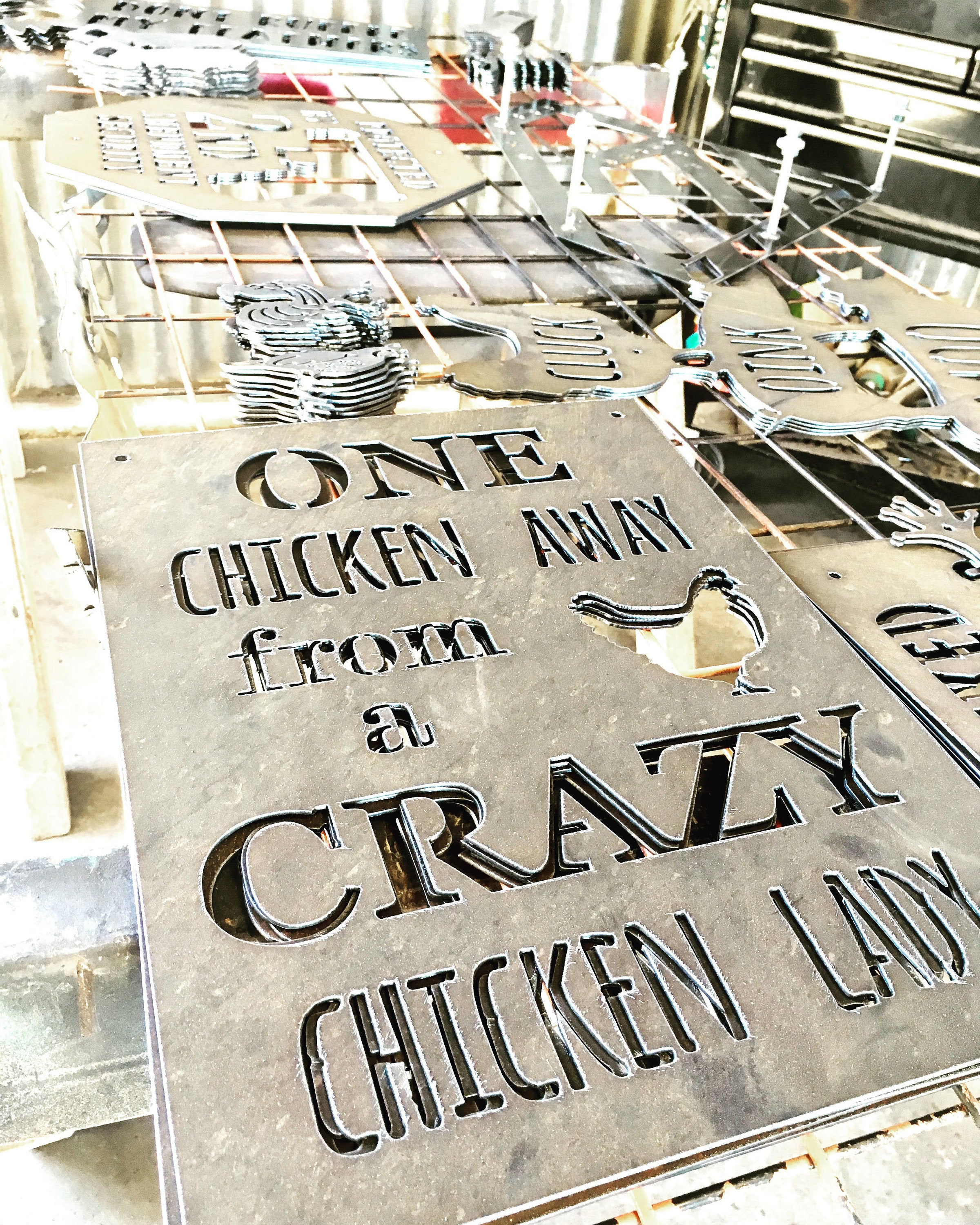 One Chicken Away from a Crazy Chicken Lady Metal Sign