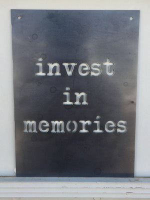 Invest in Memories Small Rectangular Metal Sign