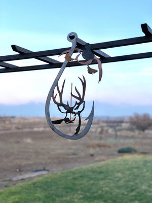 Duck Deer Fish Hook Metal sign