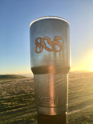 30 ounce Yeti Tumblers with signature 805 symbol overlaid with copper