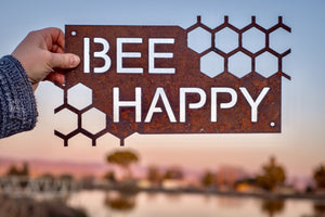 Bee Happy Metal Wall Hanging