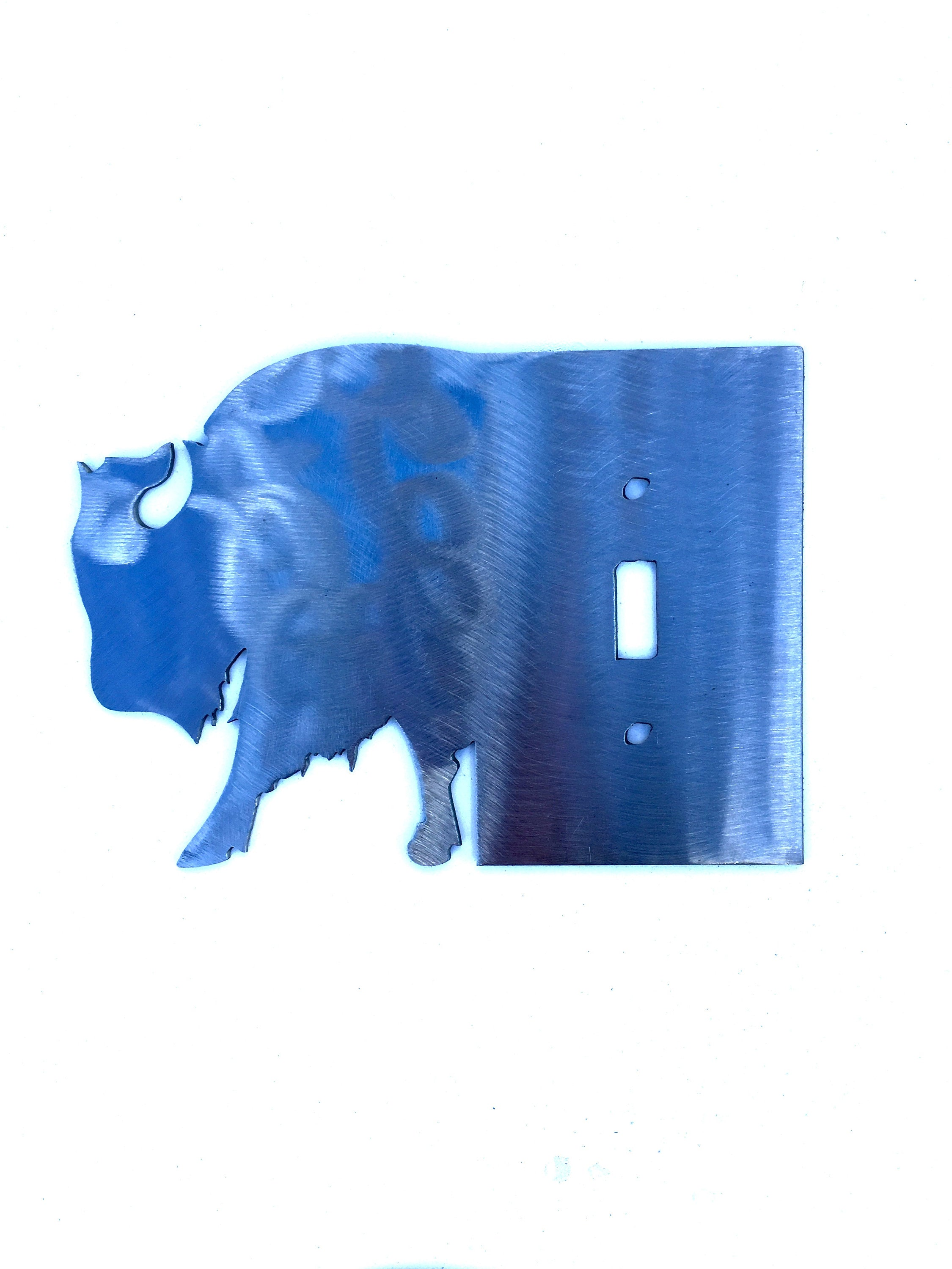 Buffalo Head Metal Switch Plate Cover/Outlet Cover/Rustic Lighting/Decorative Lighting/Unique Art/Rustic Home Decor/Wallplates/Bison decor