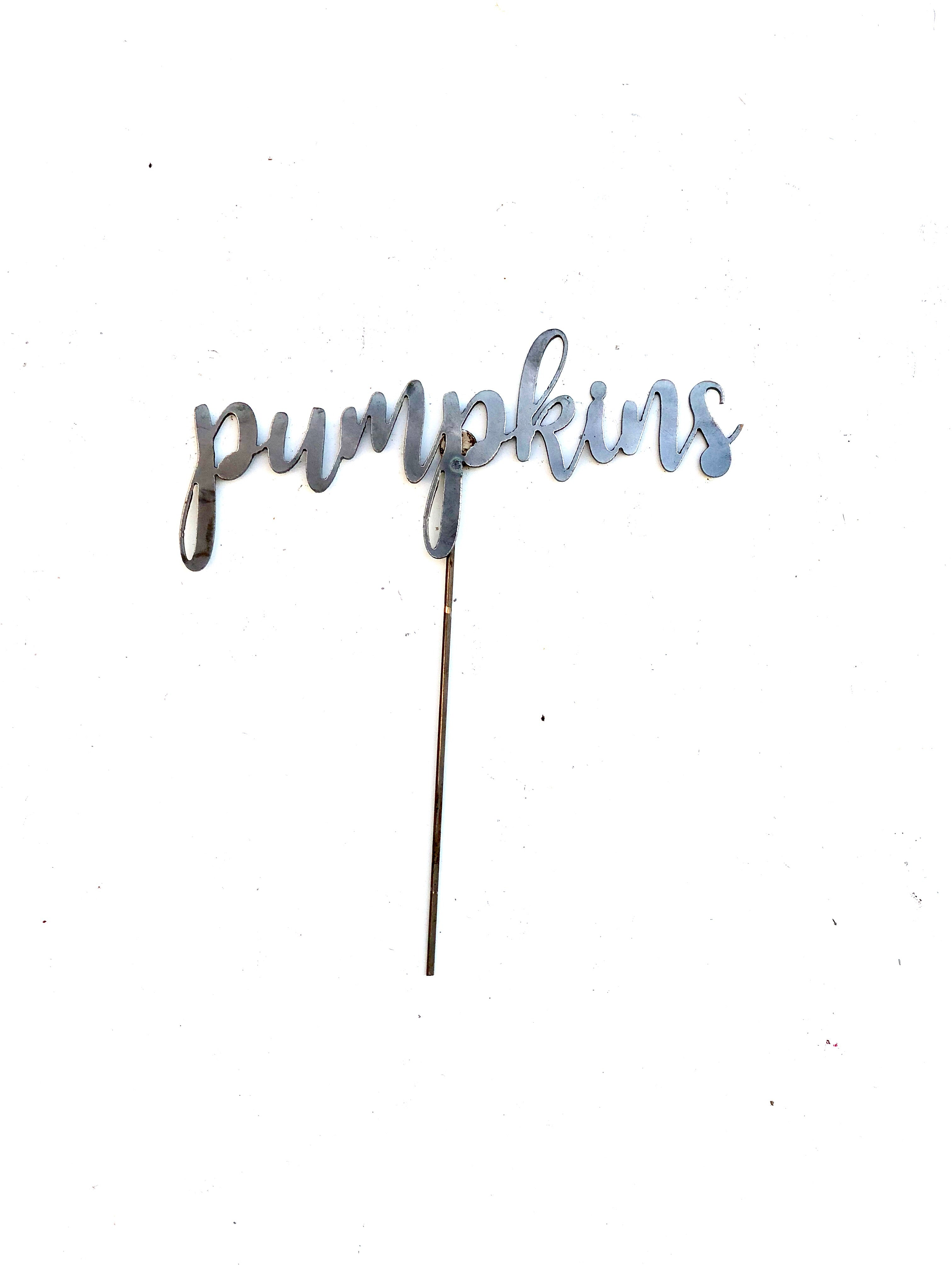 Fall themed script word metal stake