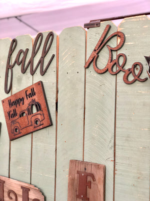 Fall themed script word metal sign