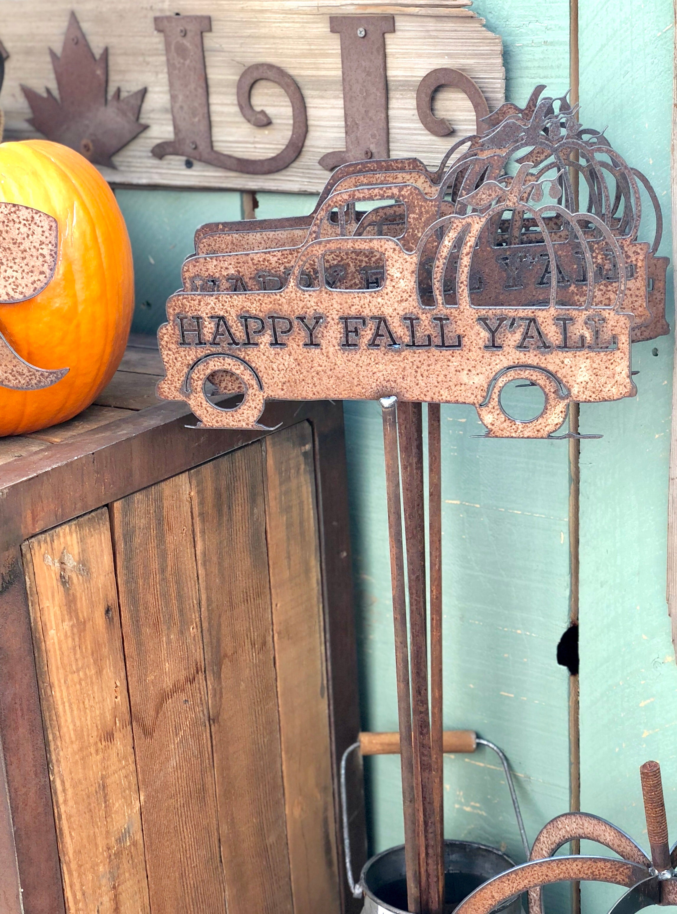 """Happy Fall Ya'll"" Truck Silhouette on Stake Metal Sign"