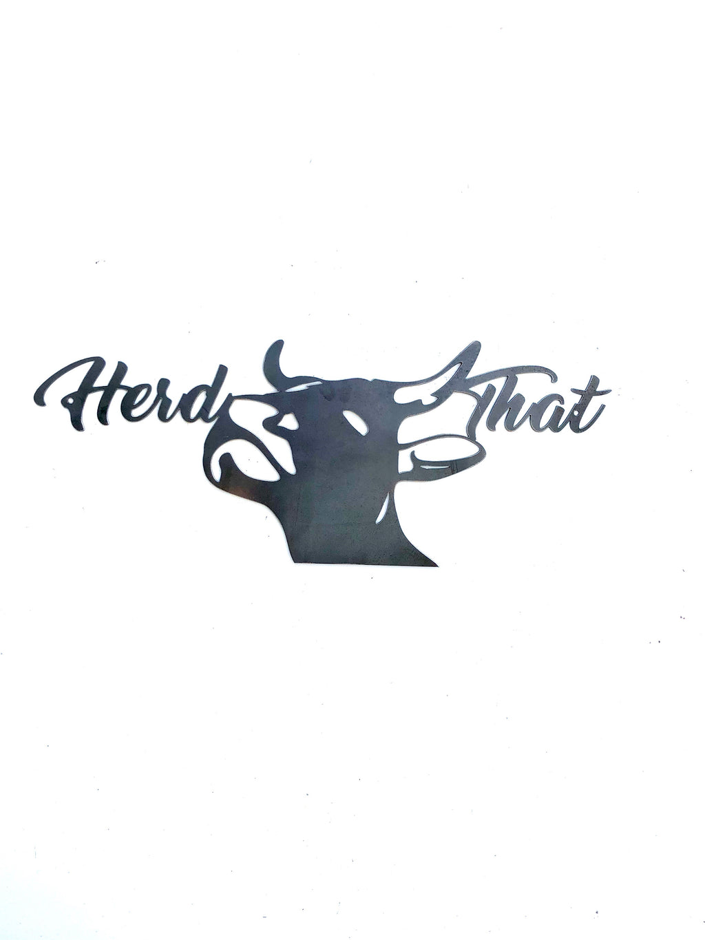 """Herd That"" Steer Head Metal Sign"