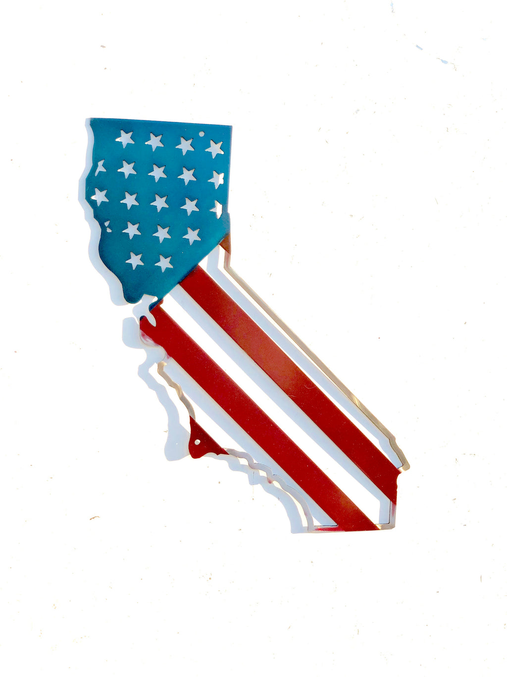 California Outline Flag Metal Sign