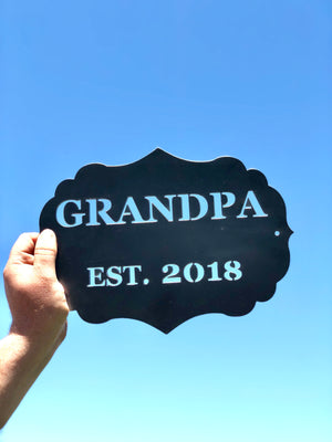 GRANDPA established Metal Wall Hanging