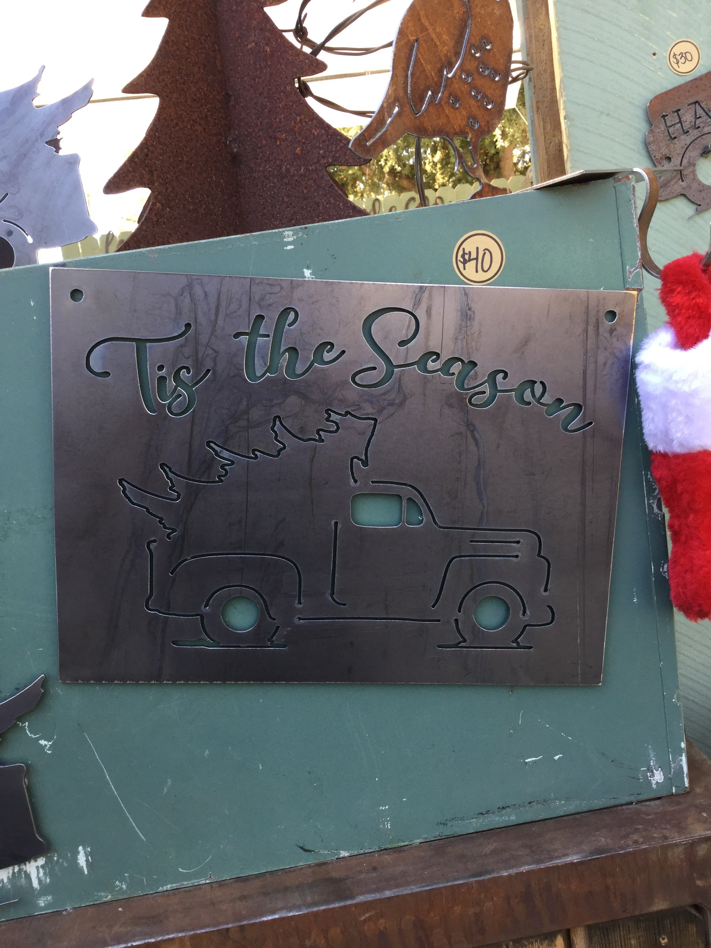 "''tis the season"" Truck Rectangular Metal Sign"