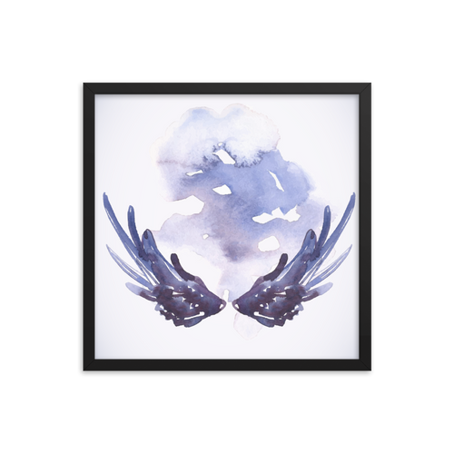 Digital Watercolor Art Angel Wings Premium Luster Photo Paper Framed Poster