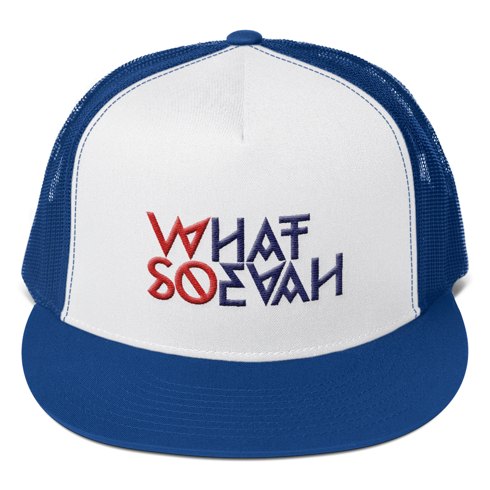 WHATSOEVAH TRUCKER CAP ROYAL BLUE