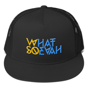 WHATSOEVAH TRUCKER CAP YELL/BLUE FULL CLASSICAL BLACK