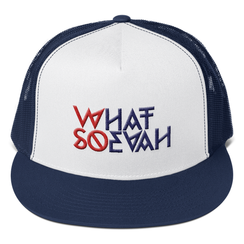 WHATSOEVAH TRUCKER CAP NAVY BLUE