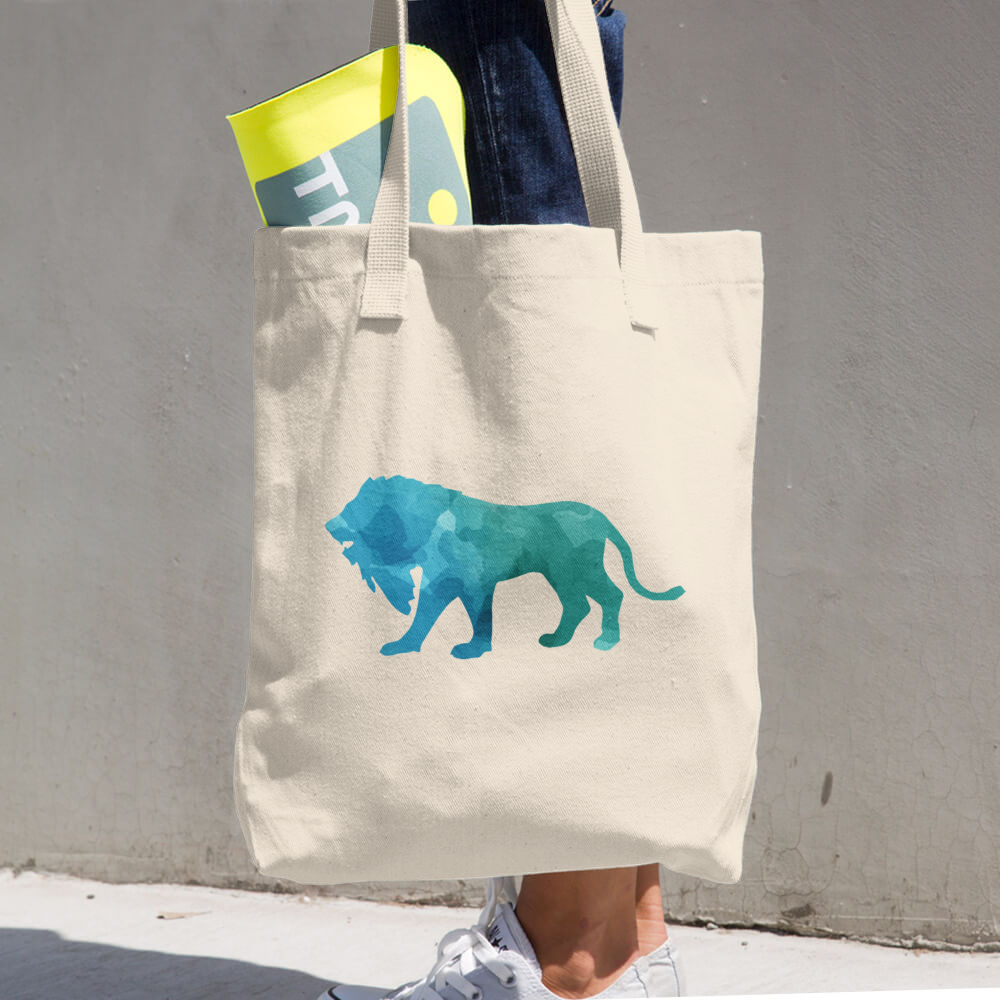 WILD LION COTTON TOTE BAG SIMPLE AND BEAUTIFUL DESIGN ON TWO SIDES