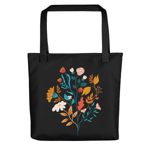 Floral-On-Black Tote Bag