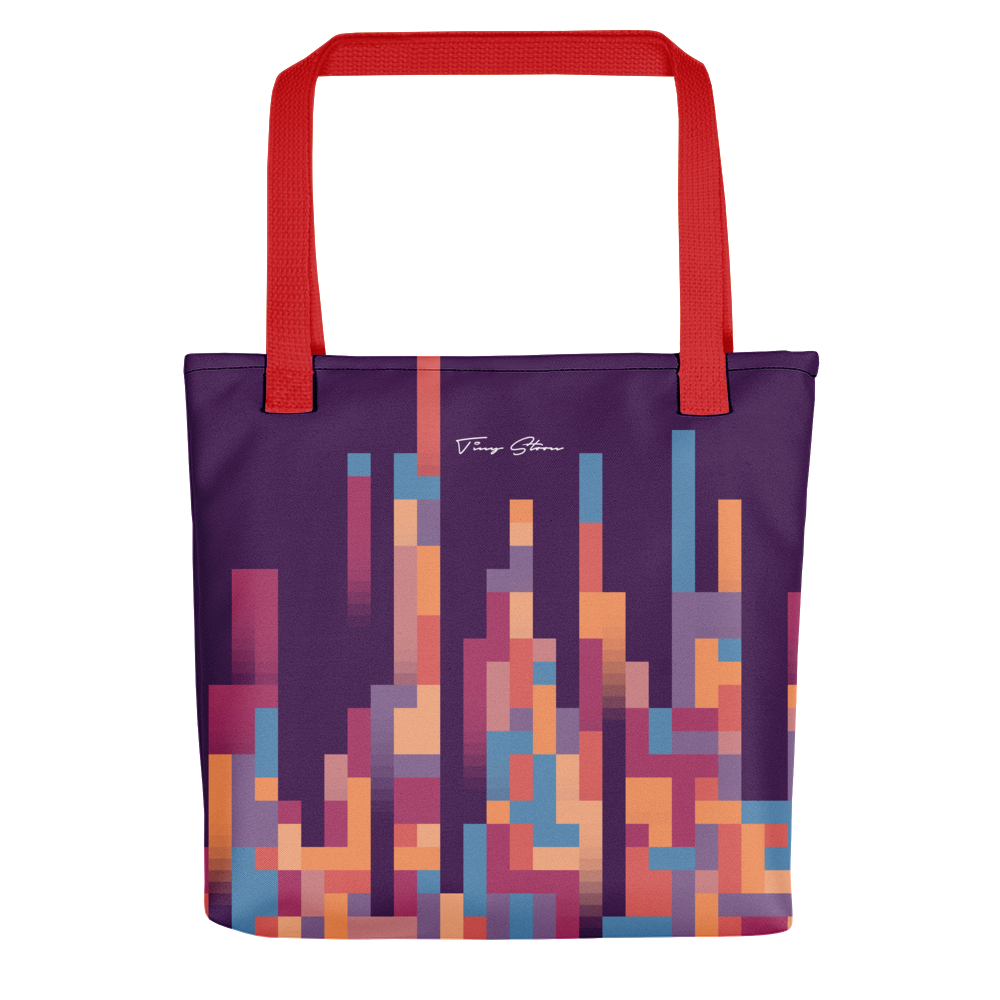 LUXURIOUS PIXEL TOTE BAG WITH RED BUNDLE