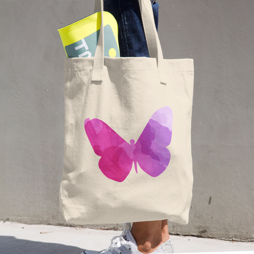 WILD BUTTERFLY COTTON TOTE BAG SIMPLE AND BEAUTIFUL DESIGN ON TWO SIDES