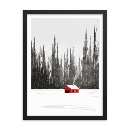 Minimal Illustration of Countryside Landscape in Winter Framed Poster
