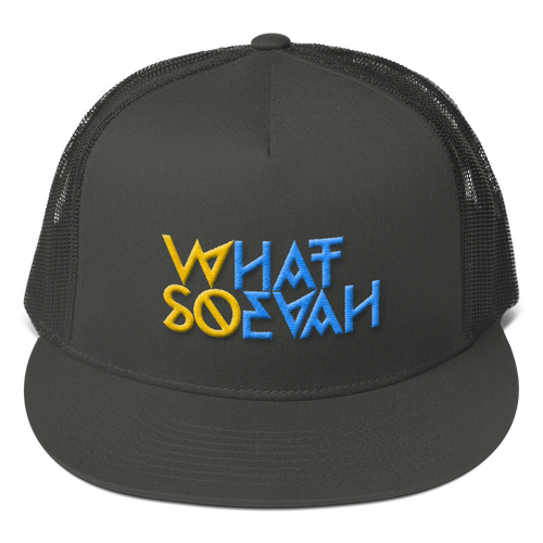 WHATSOEVAH TRUCKER CAP YELL/BLUE CHARCOAL