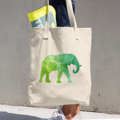 WILD ELEPHANT COTTON TOTE BAG SIMPLE AND BEAUTIFUL DESIGN ON TWO SIDES