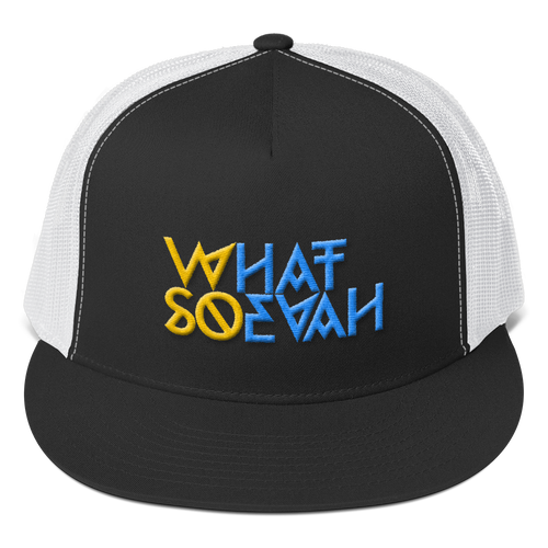WHATSOEVAH TRUCKER CAP YELL/BLUE CLASSICAL BLACK