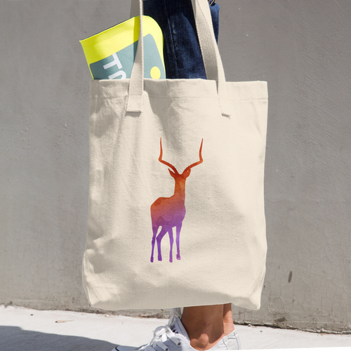 WILD GAZELLE COTTON TOTE BAG SIMPLE AND BEAUTIFUL DESIGN ON TWO SIDES