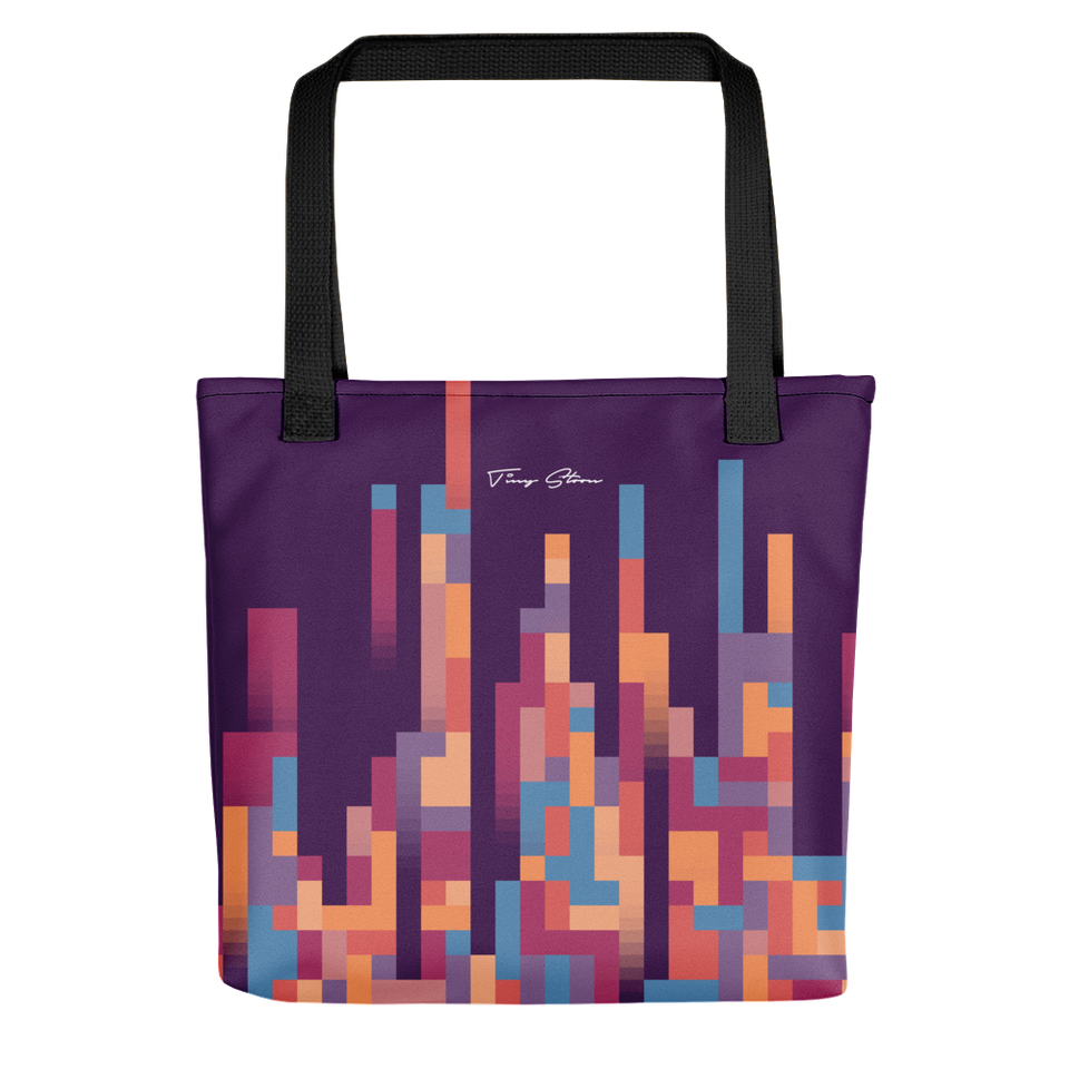 LUXURIOUS PIXEL TOTE BAG WITH BLACK BUNDLE