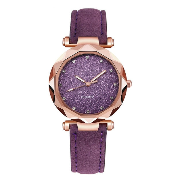 Women Romantic Starry Sky  Watch Leather - The Discount Market