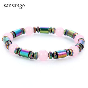 Natural Stone Colorful Hematite Magnet Bracelet - The Discount Market