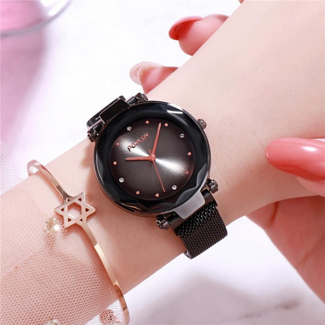 Luxury Rose Gold Women Watches Fashion Diamond Ladies Starry Sky Magnet Watch Waterproof Female Wristwatch For Gift Clock D35 - The Discount Market