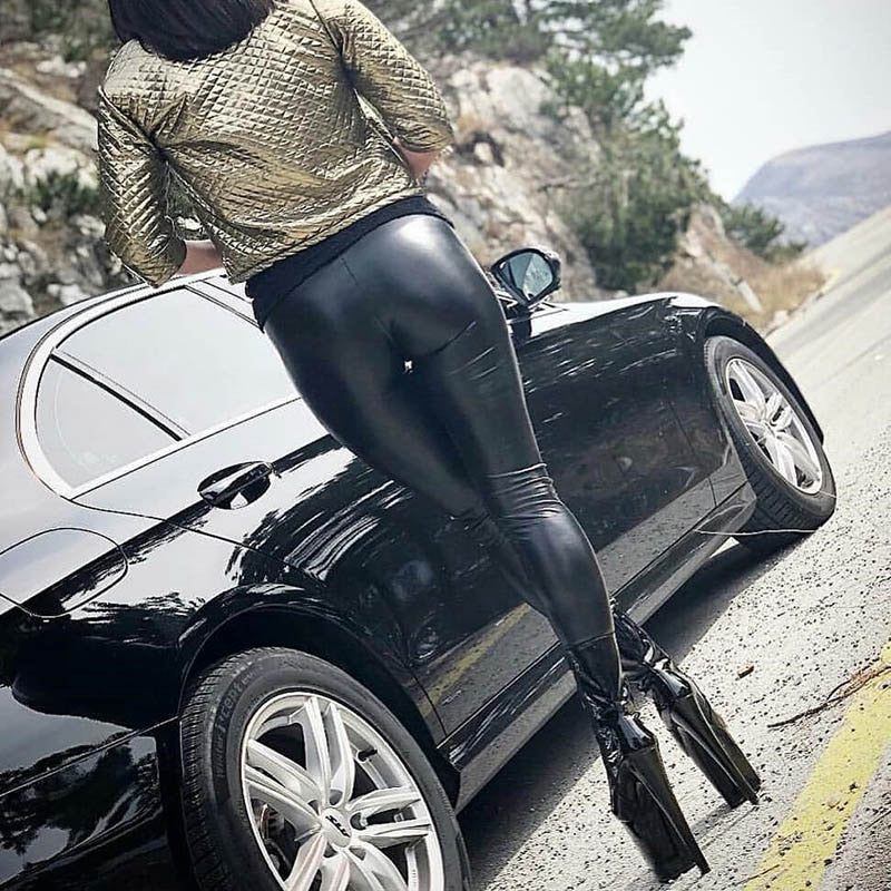 Black Summer Faux Leather Skinny Push Up Leggings - The Discount Market